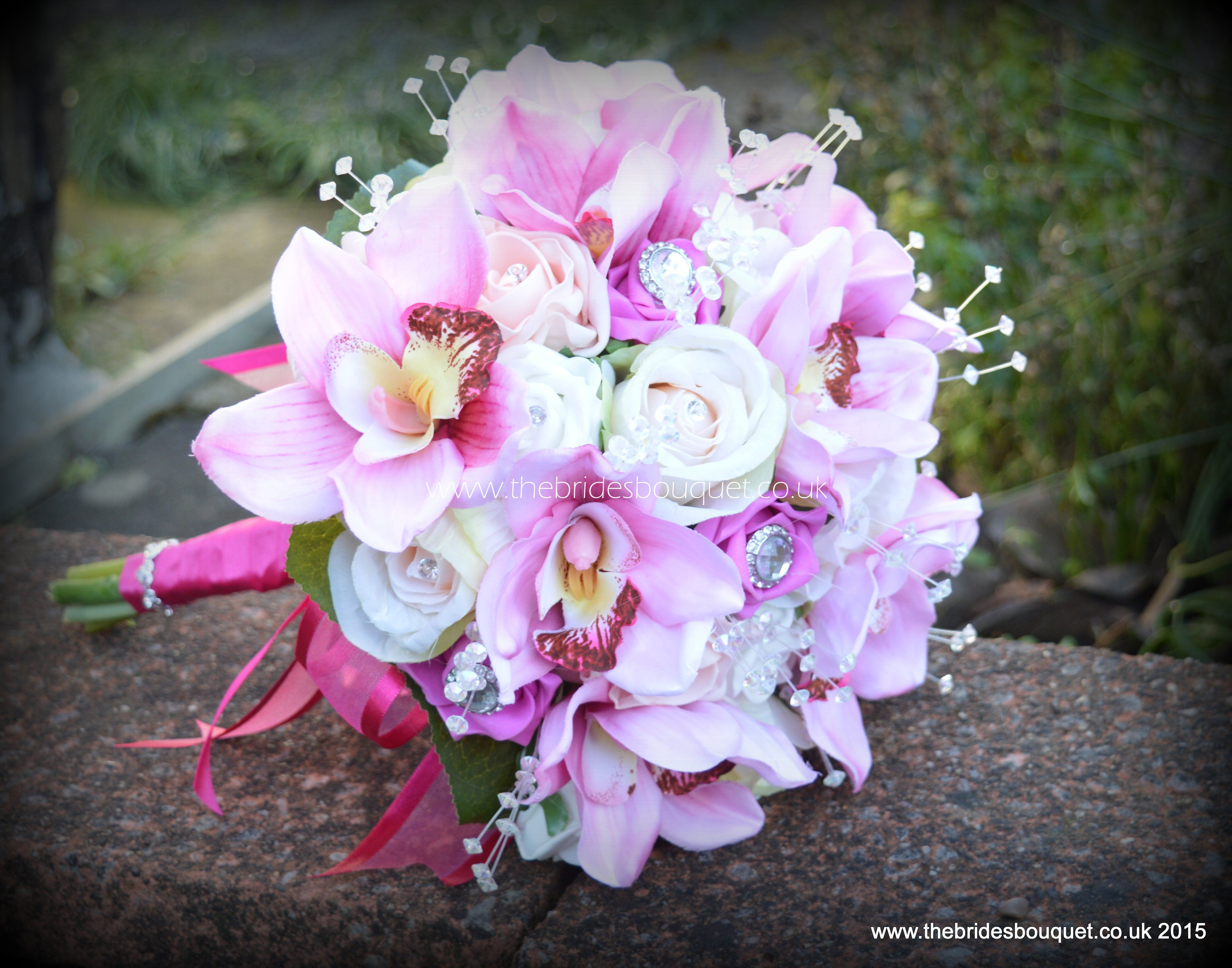 Orchid And Rose Pink Brides Bouquet Silk Wedding Flowers By Www