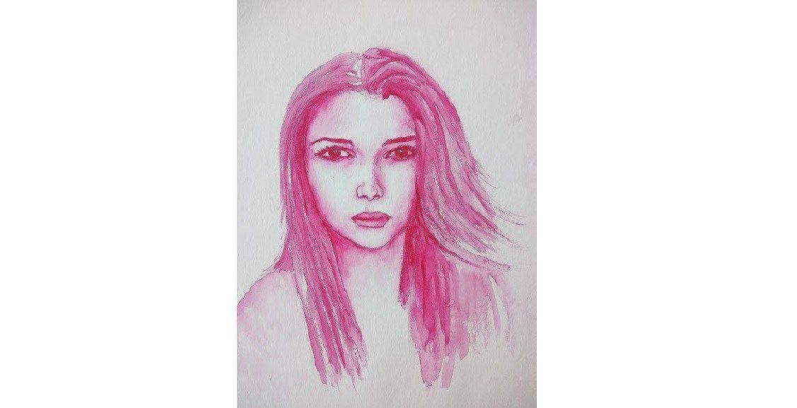 Un Portrait A L Aquarelle D Une Seule Couleur Aquarelle Facile