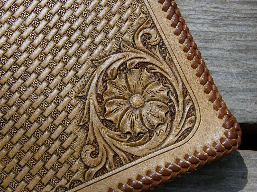 Sheridan style carved and basket stamped leather by