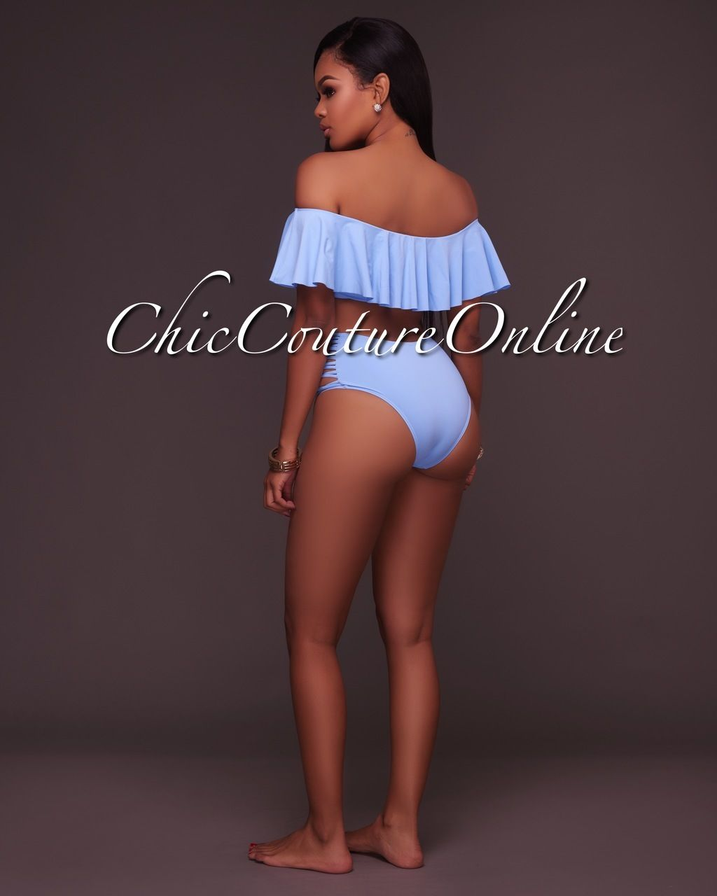 e34c440609a75 Chic Couture Online - Ohara Blue Ruffle Top and Strappy High Waist Bottom  Two Piece Swimsuit