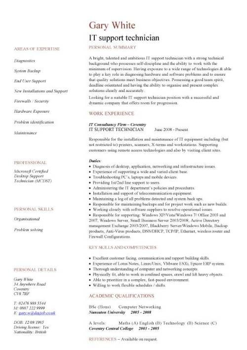IT support technician CV sample, job description, CVs, curriculum - sample of job description in resume