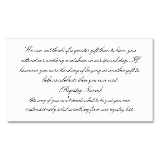 WHITE WEDDING GIFT REGISTRY BUSINESS CARD TEMPLATE Make Your Own Business Card With This Great