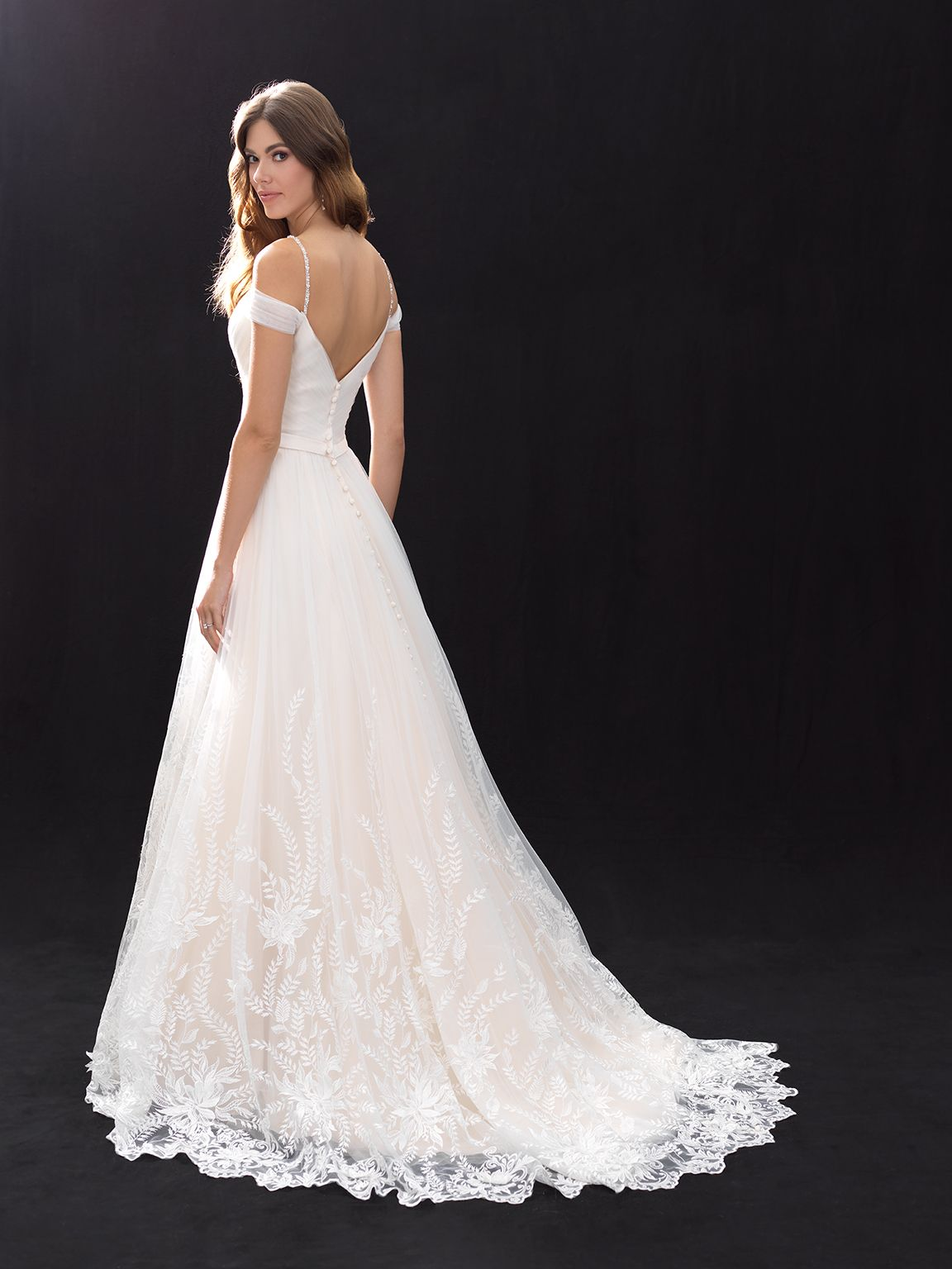 Aline lace cold shoulder gown. Madison James Style
