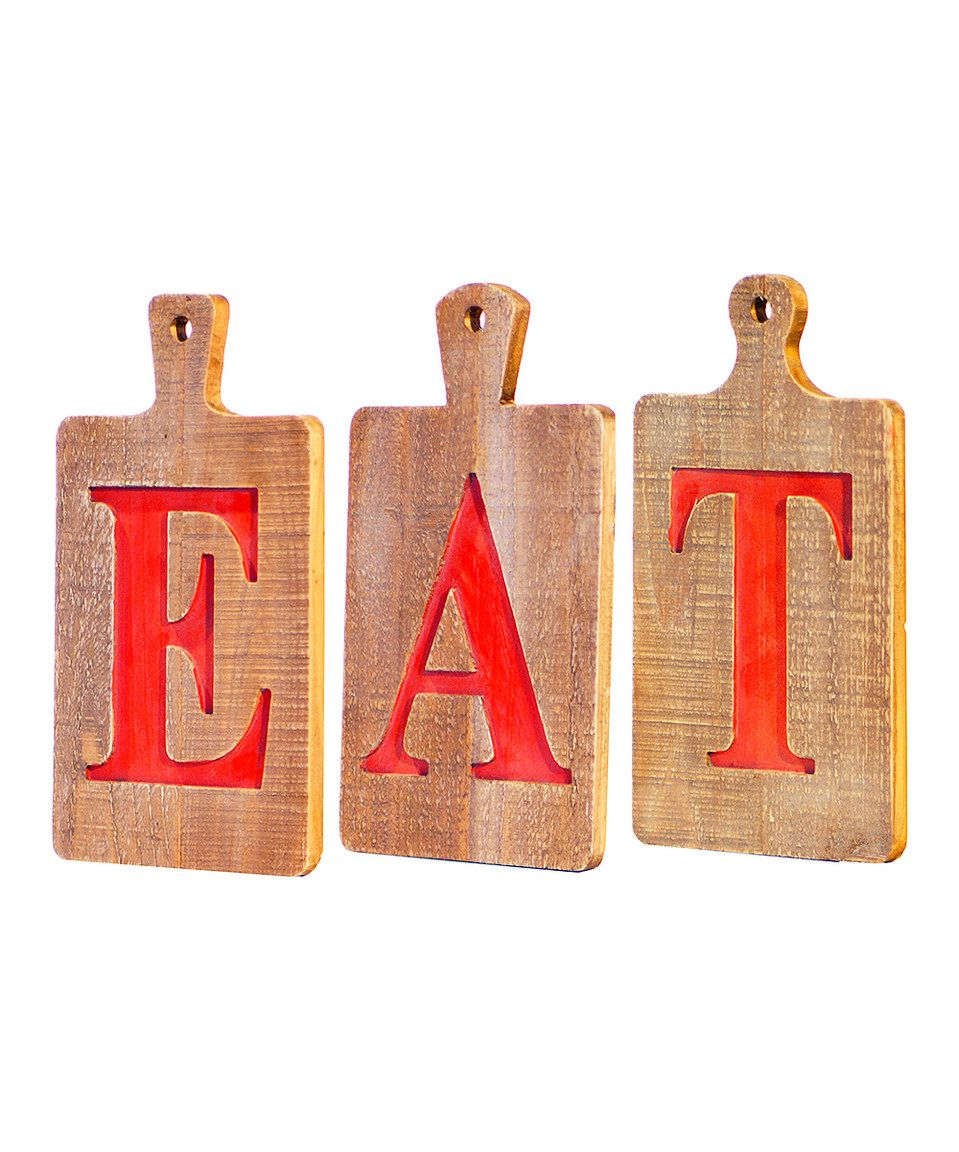 Another great find on #zulily! 'Eat' Wood Signs - Set of Three by VIP International #zulilyfinds