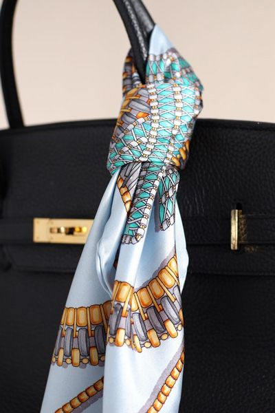 e9efa98004 An accent for your purse  tie a colorful silk scarf onto one of the  handles~~~~Love doing this!