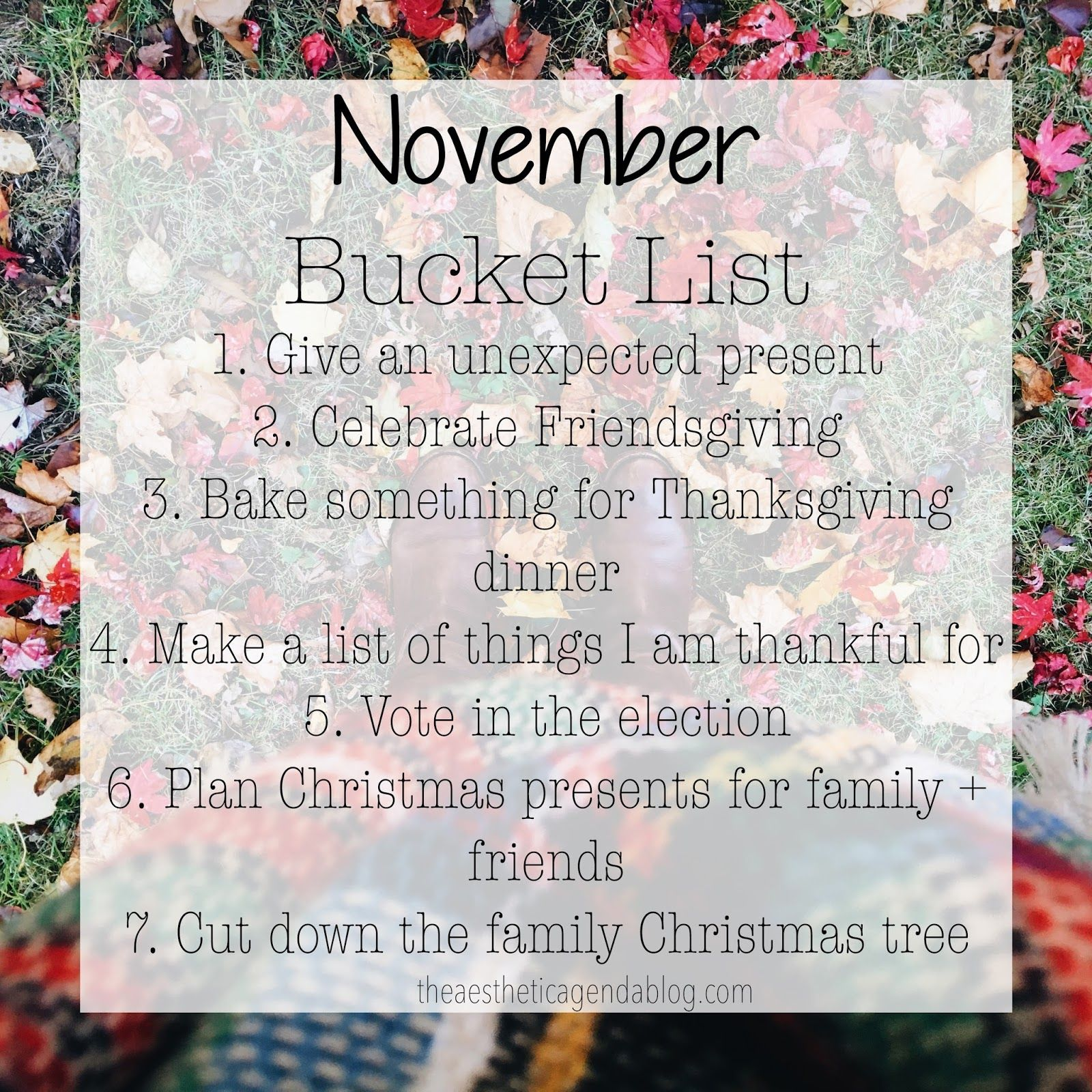 November Bucket List  The Aesthetic Agenda  Aesthetic