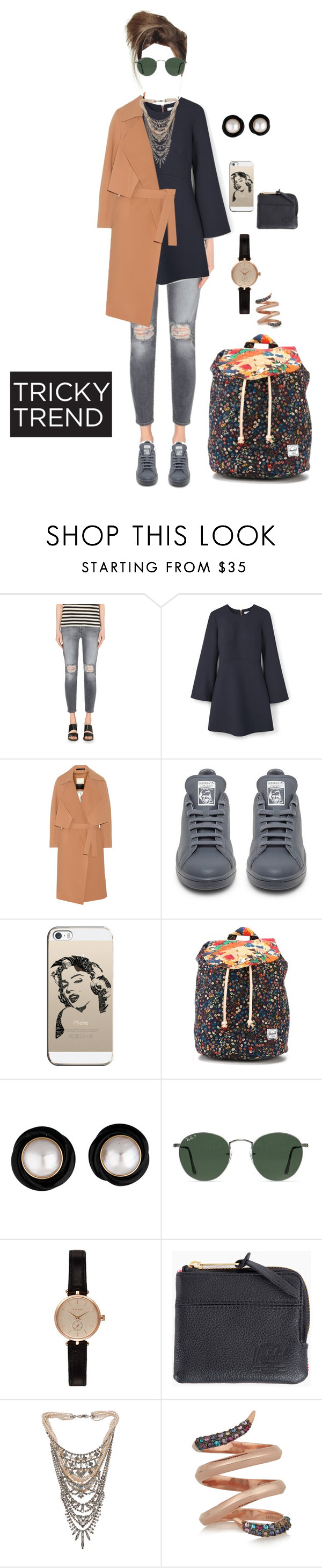 """Anti social"" by yvsra on Polyvore featuring 7 For All Mankind, MANGO, By Malene Birger, adidas, Casetify, Herschel Supply Co., Ray-Ban, Barbour, Tom Binns and Katie Rowland"