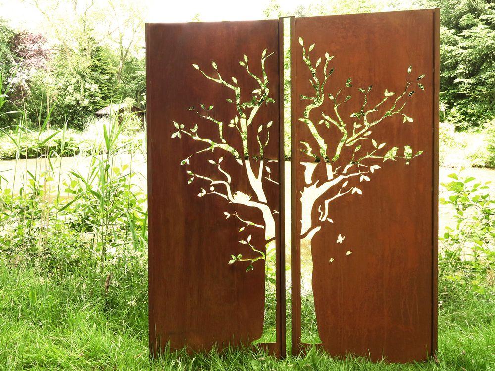Details about Gartenwand Sichtschutz Wand Diptychon Baum