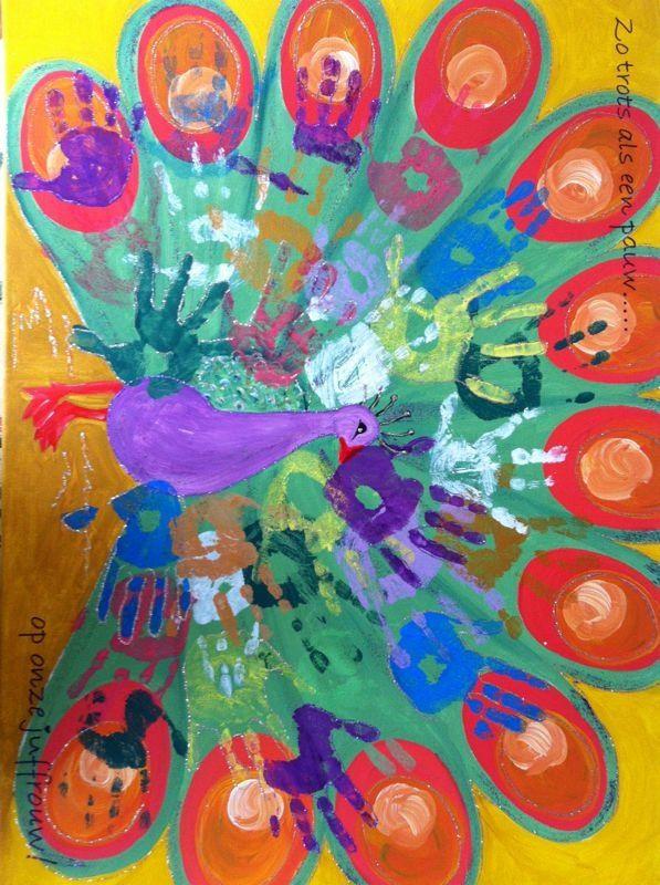 Pauw bedank schilderij juf cadeau pinterest school and craft - Deco schilderij slaapkamer kind ...
