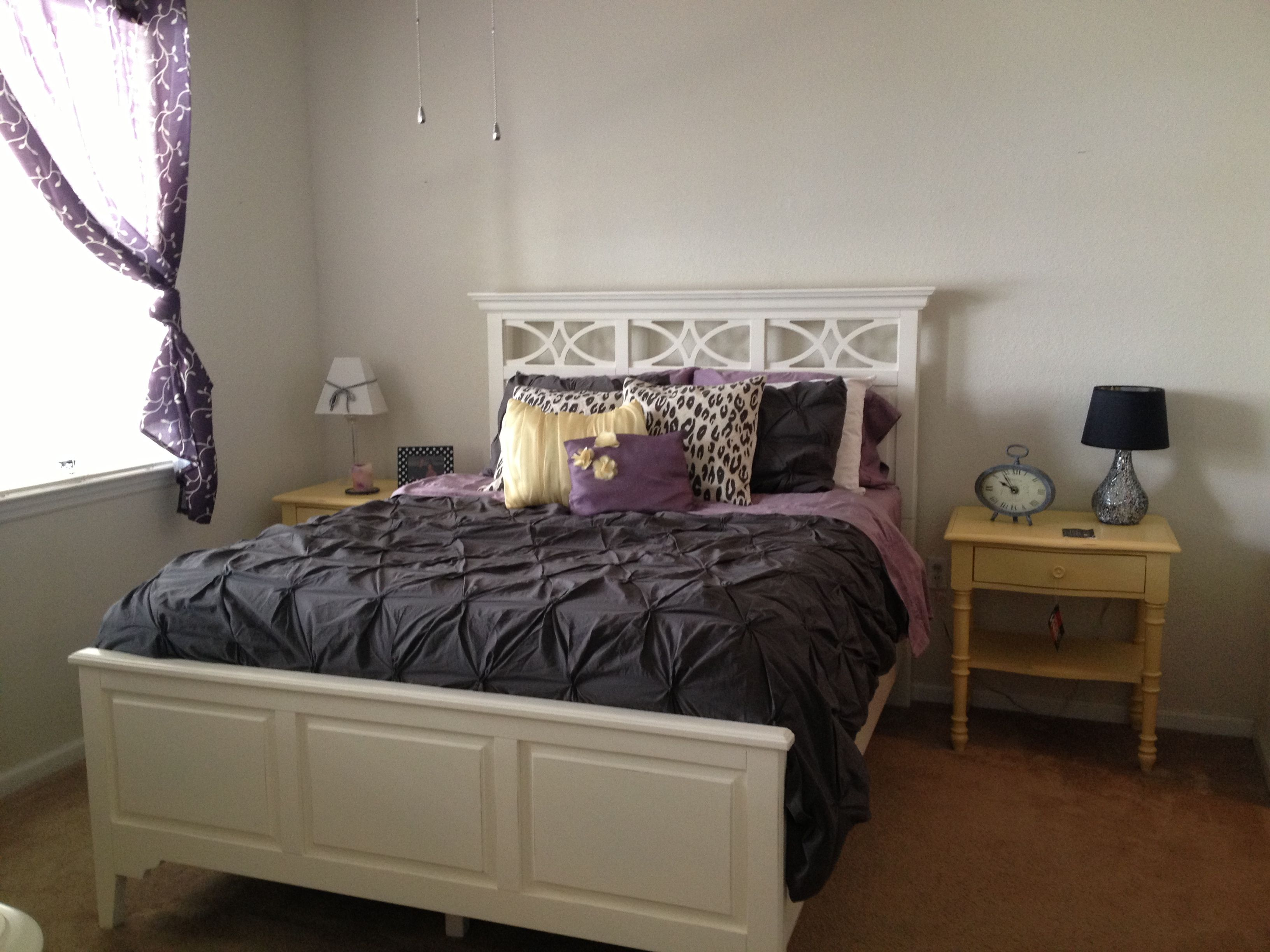 purple and yellow master bedroom ideas Gray, yellow, and purple #bedroom my current set up! Not done yet   Master bedroomShades of