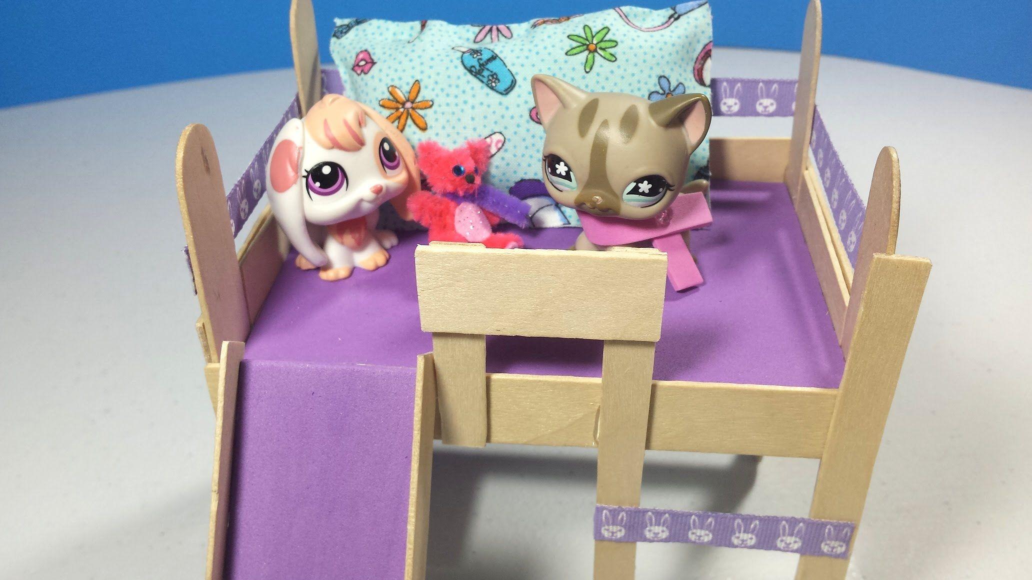 How To Make An Lps Loft Bed With Optional Slide Desk Doll Diy