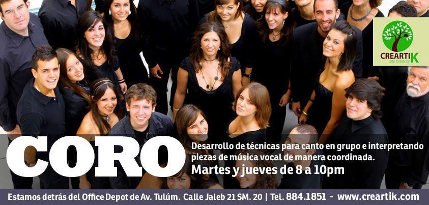 Desarrollo de técnicas para canto en grupo e interpretando piezas de música vocal de manera coordinada.    Los martes y jueves de 8 a 10pm en Creartik Cancún.