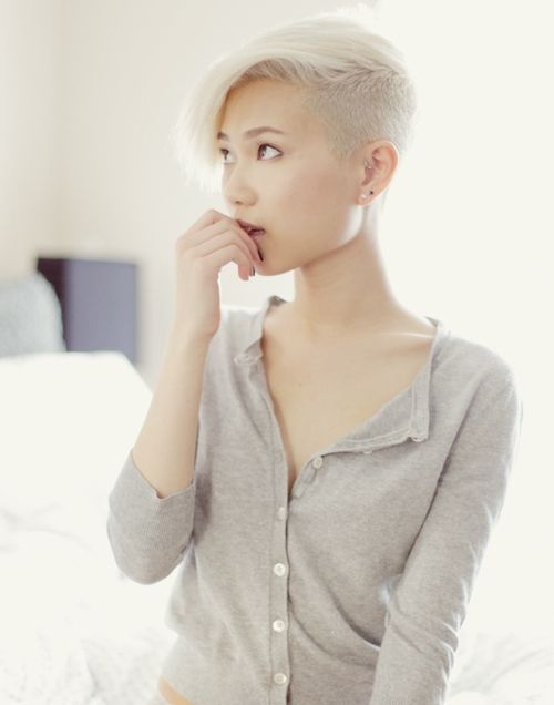 women haircut buzzed sides long