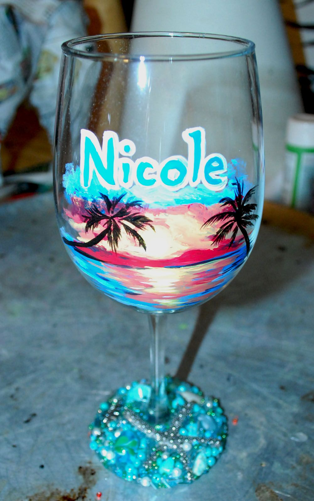 Beach landscape hand painted wine glass beaded base for Painted wine glasses