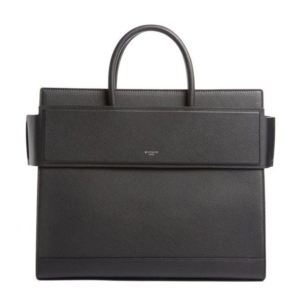 Women's Givenchy Medium Horizon Grained Calfskin Leather Tote (€2.580) ❤ liked on Polyvore featuring bags, handbags, tote bags, black, givenchy tote bag, handbags totes, tote hand bags, calfskin handbag and structured tote