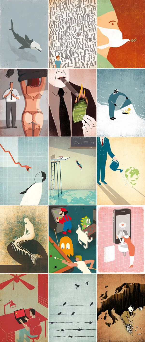 A selection of editorial and conceptual illustrations by Davide Bonazzi, an illustrator from Bologna, Italy.