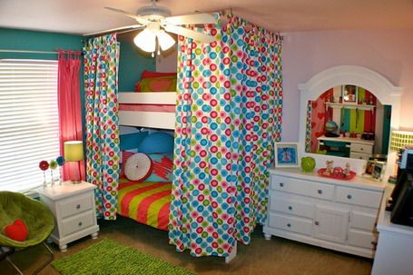 Bunk Bed With Curtain Cover And White Dresser And Bedside Table With Night  Stand And Armchair