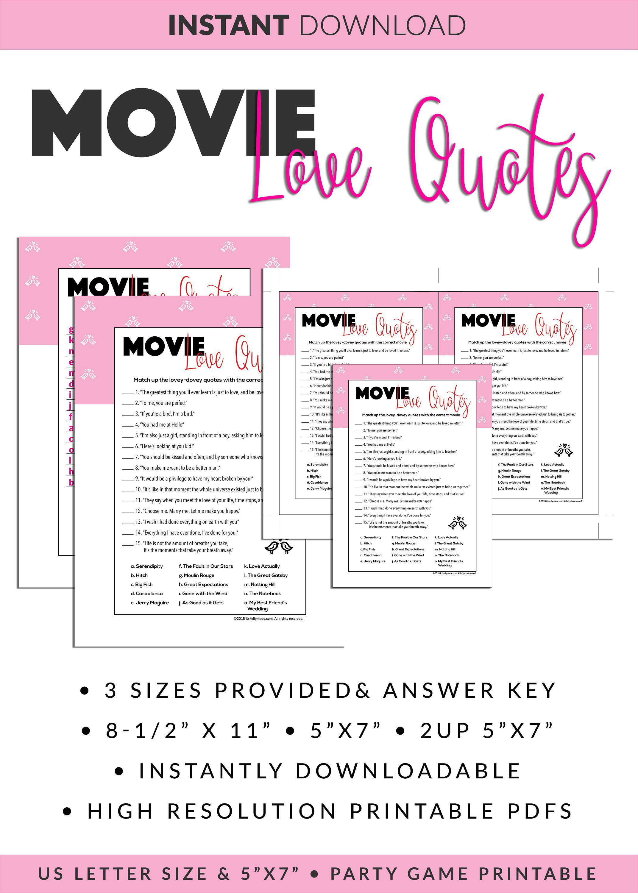 Movie Love Quotes Quiz Printable Quotes Quiz Game