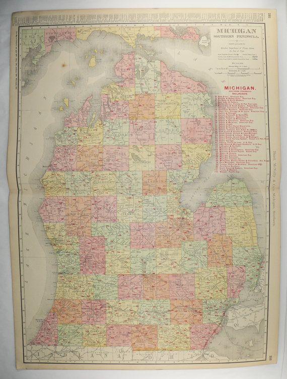 Vintage Michigan Map 1903 Large Map Michigan State Michigan Gift