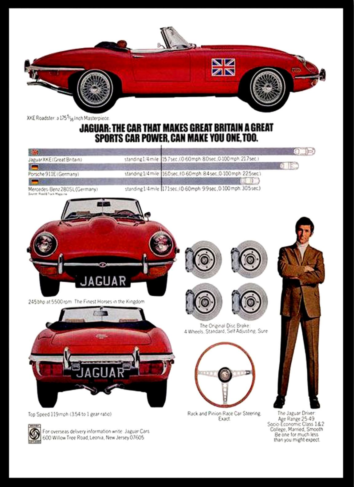 A3 - Wall POSTER Print Art - E-Type jaguar 1969 Retro Vintage Car Advert - #1