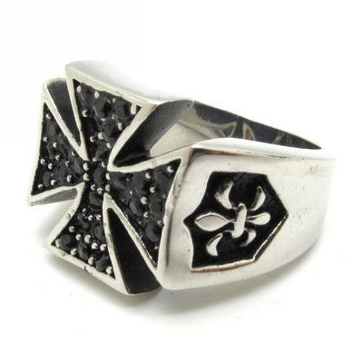 Mens Silver Cross Vintage Fleur de Lis Black Crystal Stainless Steel Ring Size 8 | eBay