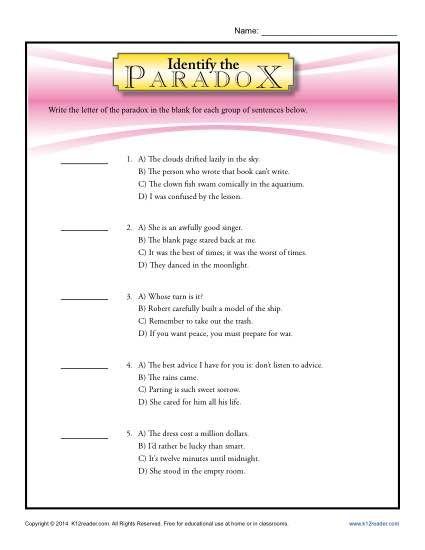 Identify The Paradox Figurative Language Worksheets Figurative Language Worksheet Language Worksheets Figurative Language Lessons Free printable figurative language worksheets