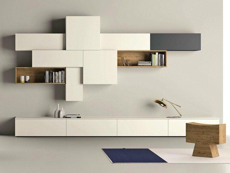 Meuble Tv Mural Design Lumineux Sabina Woonkamer Eigentijds Ikea Woonkamer