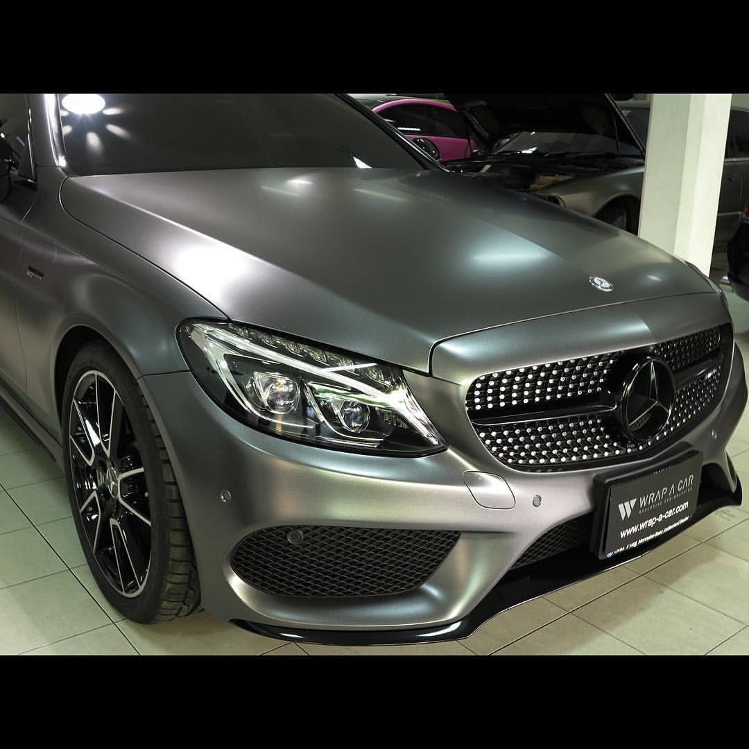 Benz C43 Amg Satin Dark Grey Mercedes Benz C43 Amg Wrapacar