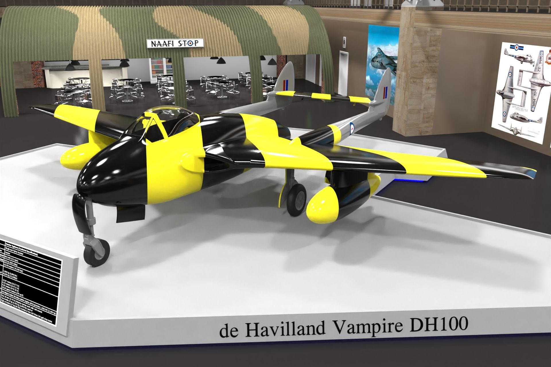 de Havilland Vampire created using SolidWorks and rendered