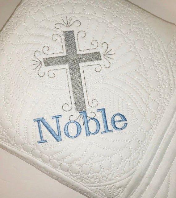 Personalized Baby Boy Cross Quilt, Baby Boy Baptism Blanket, Baby Heirloom Keepsake Blanket, Custom #babyboyblankets