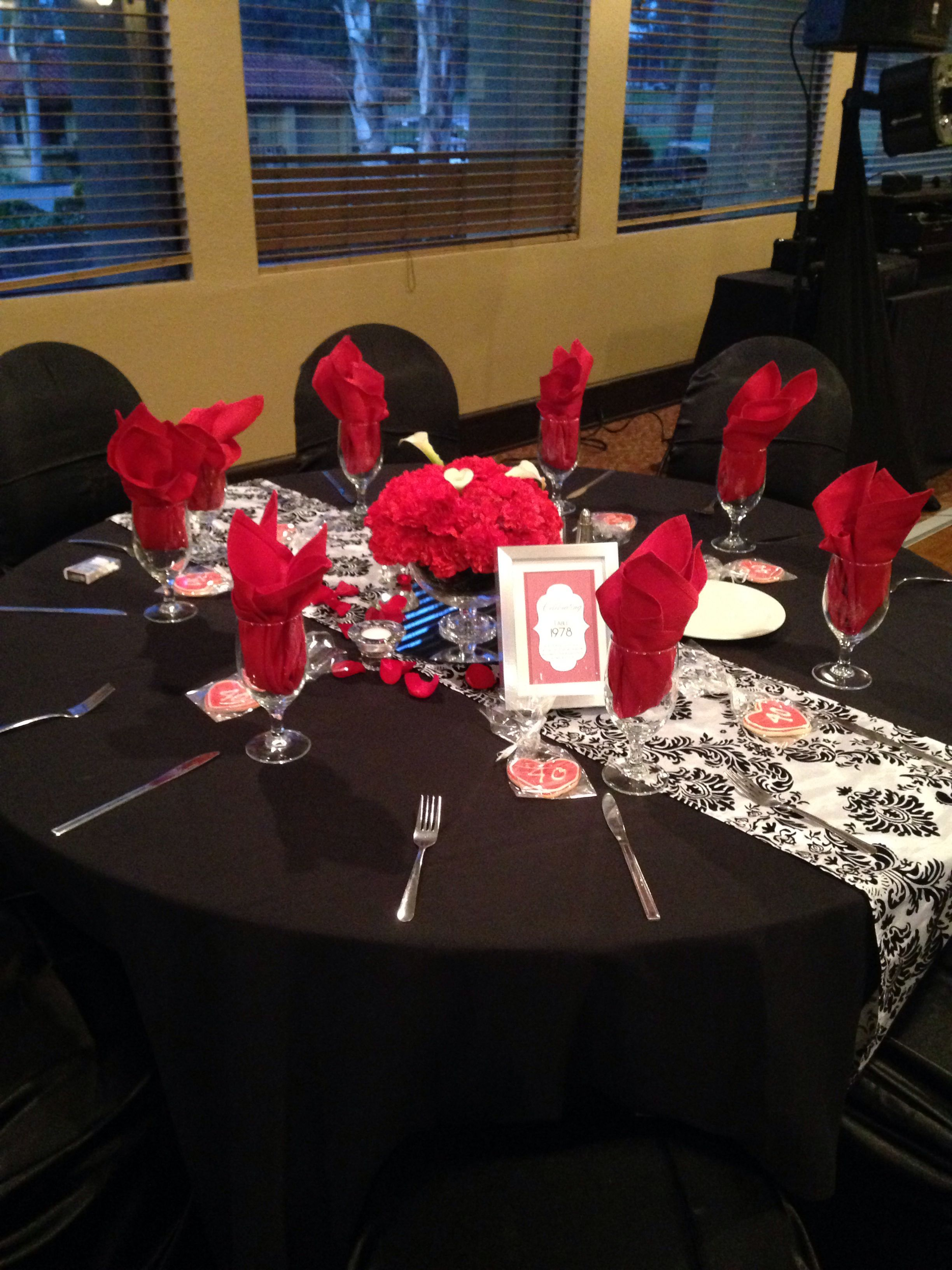 Table setting Red, Black, and White colors 40th