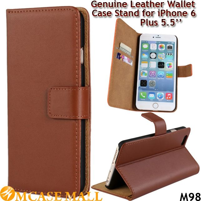 (100 pieces/lot) High Quality Wallet Book Cover Flip Genuine Leather Case for iPhone 6 Plus 5.5 Inch with Stand Card Holders, Accept the payment method via Paypal, Escrow, Credit Card, etc...