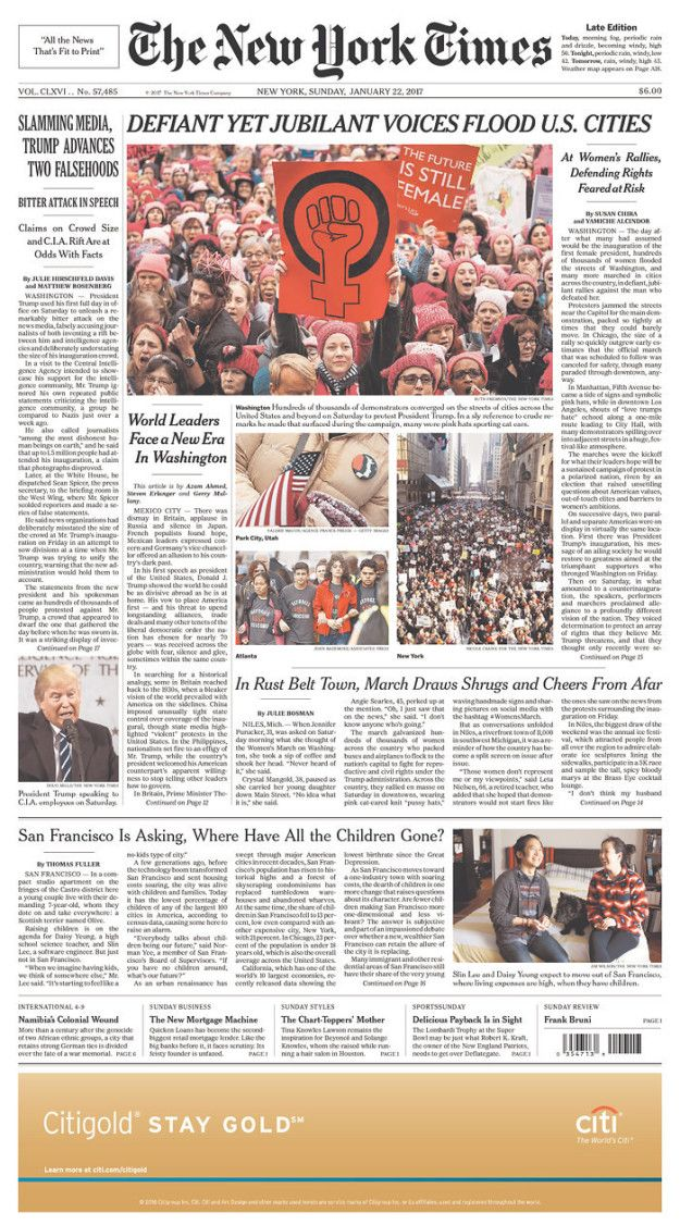 The New York Times (US)   Here's How Newspapers Around The World Covered The Women's March