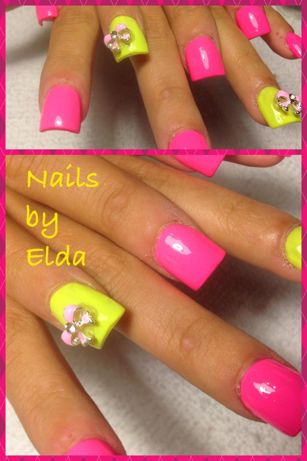 Neon pink with neon yellow