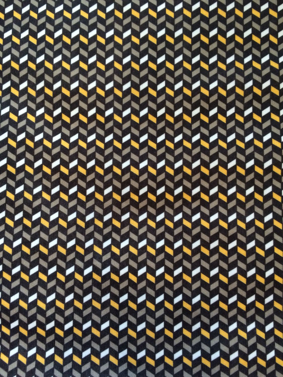 Vintage Fabric Vintage Knit Fabric Black Tan Yellow and White ...