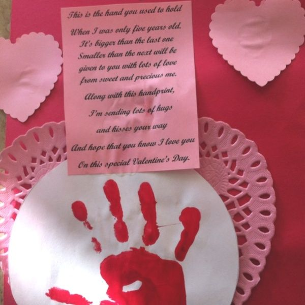 Handprint and poem for Parents for Valentine\'s Day ...