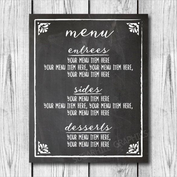 Image Result For Chalkboard Bar Menu Template  Menu Ideas
