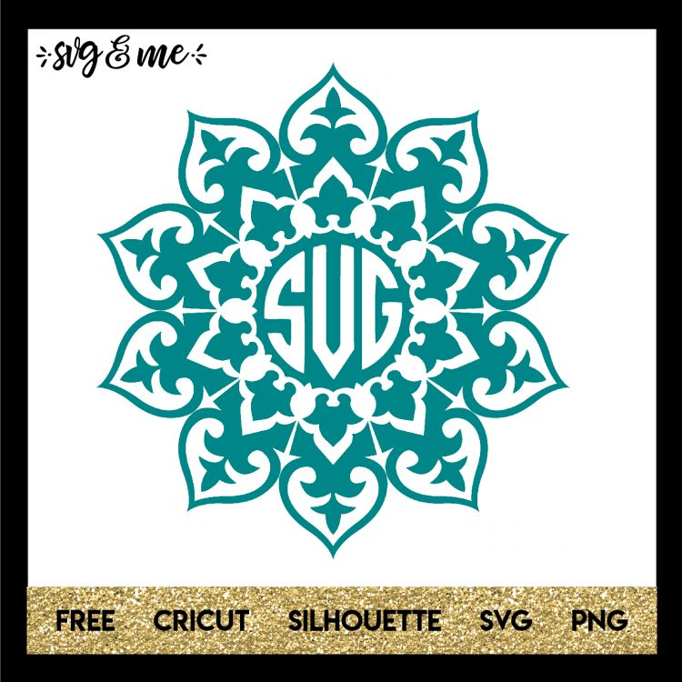 Teal Mandala Monogram is part of Monogram svg, Cricut monogram, Mandala monograms, Free cricut images, Svg, Svg design - This free svg is a gorgeous teal mandala design you can customize with your own monogram to create hundreds of great DIY projects and gifts! Learn how to make a monogram with our tutorial and easily make with Cricut, Silhouette or other cutting machines