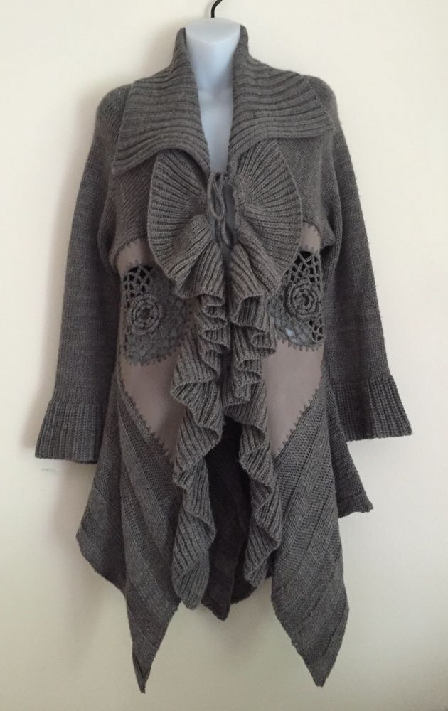 Sioni Long Sleeve Pleated Ruffled Sweater Coat Brown Size Medium M ...