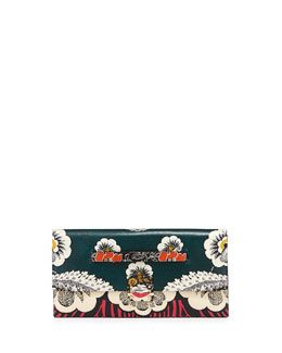 L0JBX Valentino Floral-Print Covered Clutch Bag