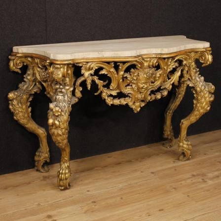 7800u20ac Italian Console In Golden Wood In Louis XIV Style. Visit Our Website  Www