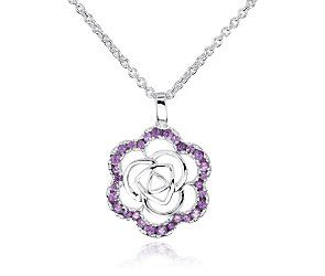Amethyst Flower Pendant in Sterling Silver
