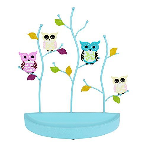 Owls Jewelry Stand with Crescent Jewelry Tray for Earrings, Necklaces, Rings,Bracelets, Blue JewelryNanny
