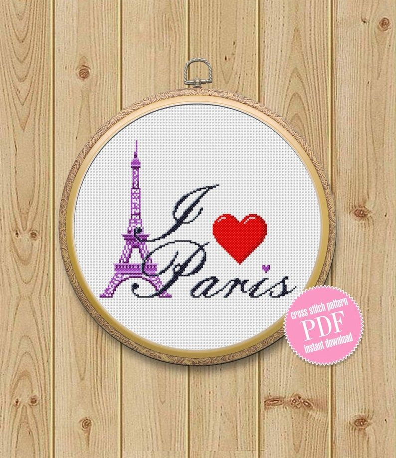 Cross stitch pattern quote I Love Paris for a bag, t-shirt, pillow modern, France PDF Pattern