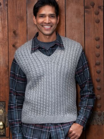 Free Crochet Pattern Mens Vest : Dads Cabled Vest Yarn Free Knitting Patterns ...