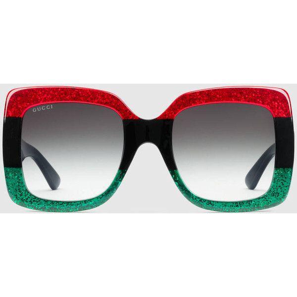 Square-frame glitter acetate sunglasses Gucci 9AJpD