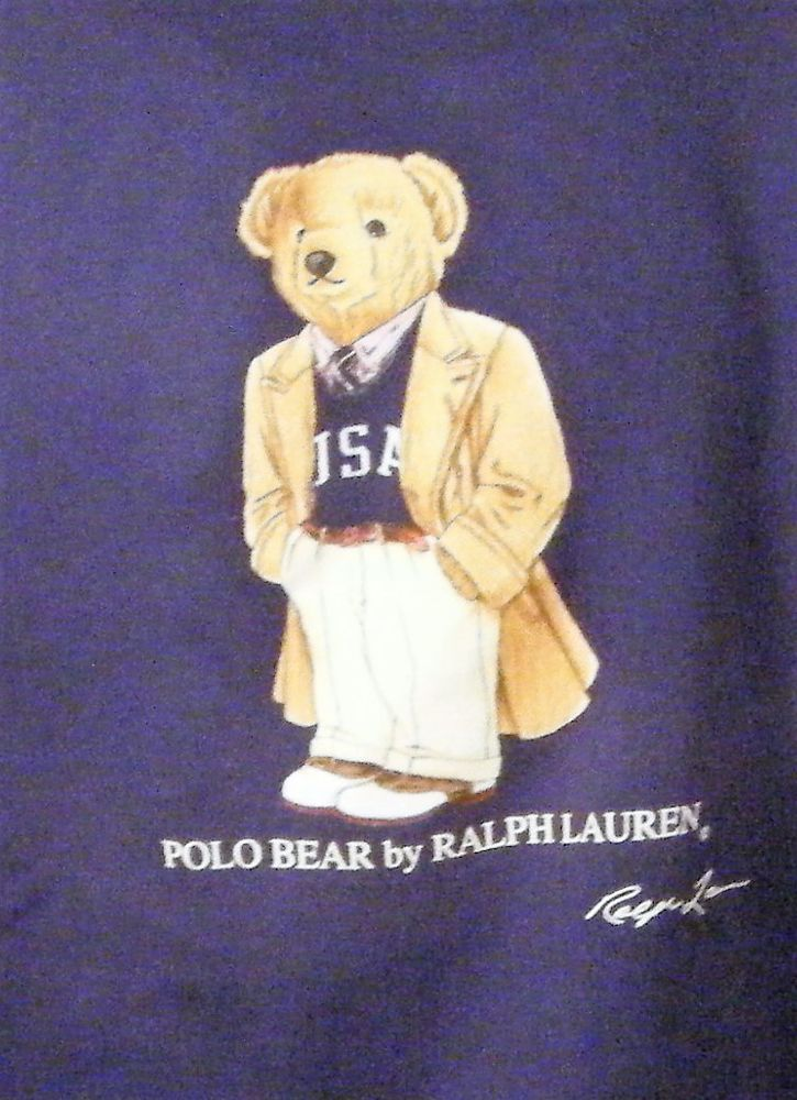 e04165d19ef6 Rare Polo by Ralph Lauren USA Trench Coat Bear Crew Sweatshirt Navy Blue L   Trench  SweatshirtCrew