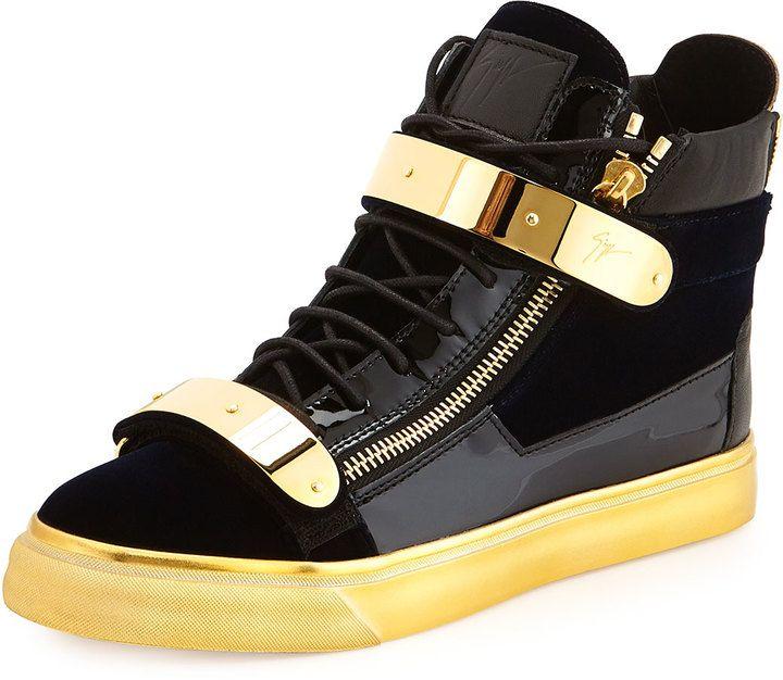 4cdbb0ed788 Giuseppe Zanotti Men s Velvet High-Top Sneaker