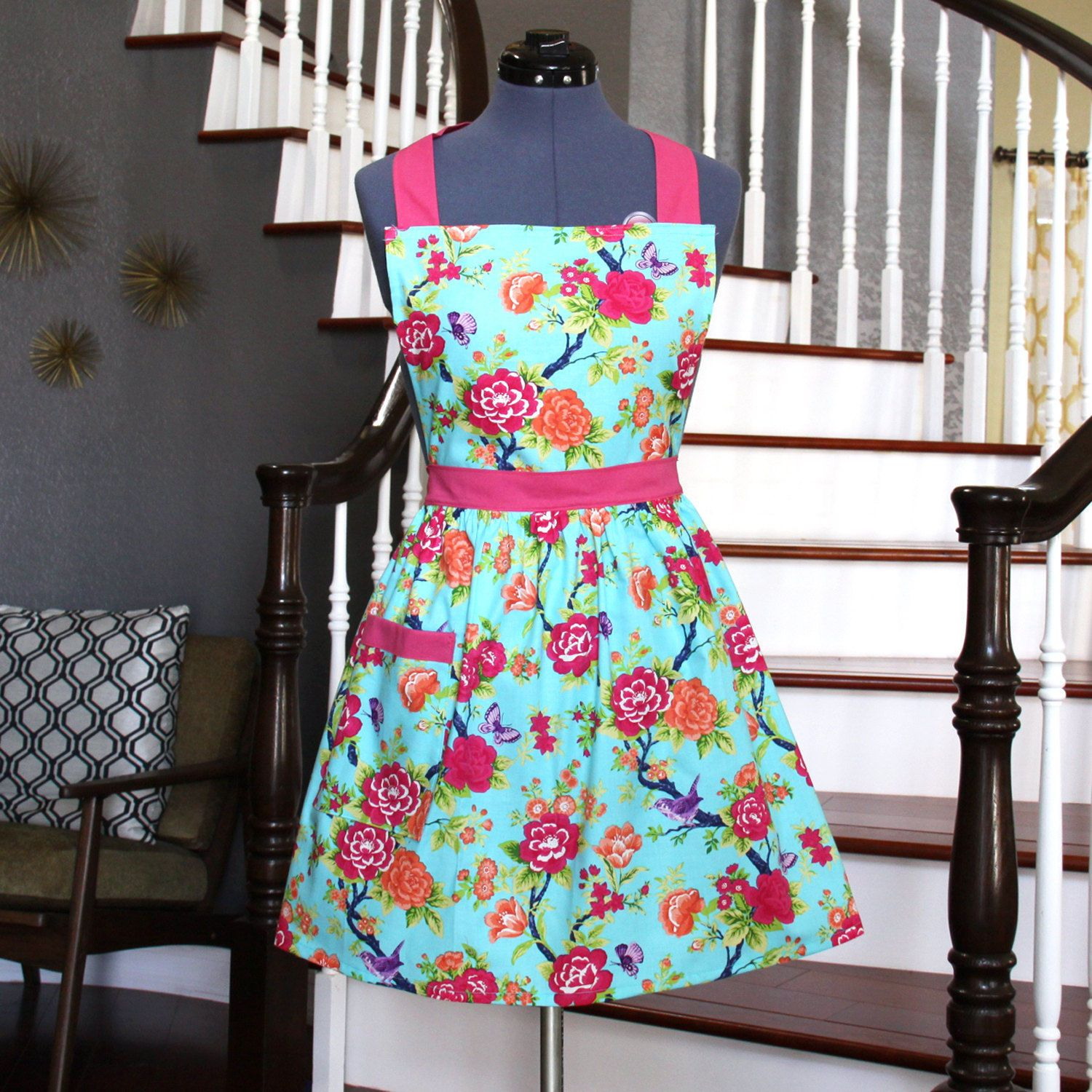 Floral Womens Aprons - Aprons for Women, Blue Pink Orange Apron with ...
