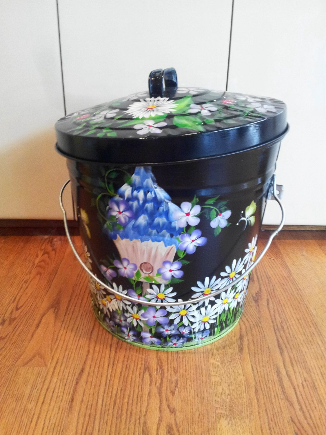 10 Gallon Hand Painted Galvanized Can By